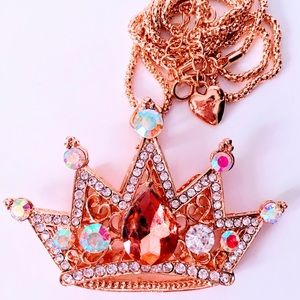 NEW! SPARKLING JEWELED CRYSTAL CROWN NECKLACE-GOLD